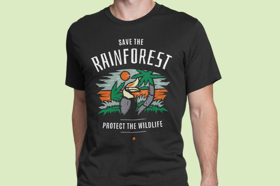 save-rainforest-hornbill-black-shirt-model