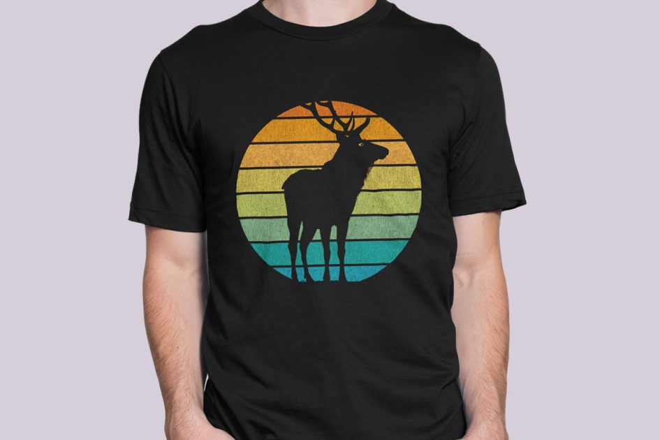 wild-elk-stag-retro-pattern-black-shirt-model