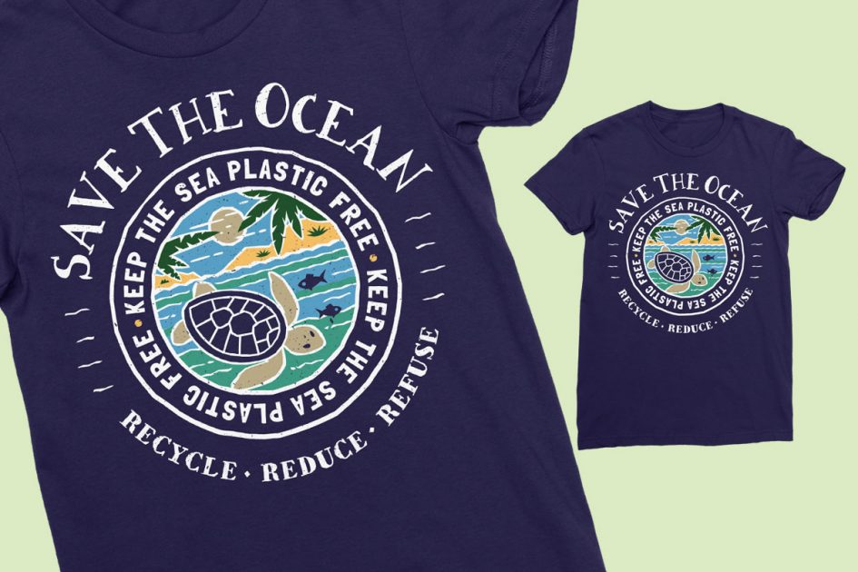 save-ocean-recycle-blue-shirt-detail