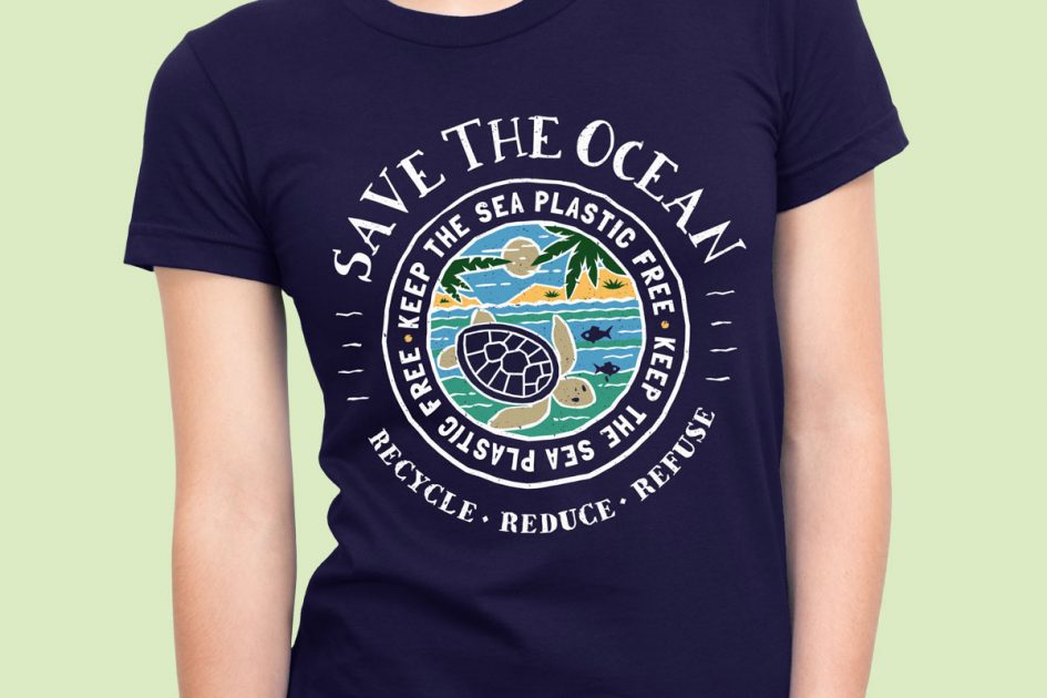 save-ocean-recycle-blue-shirt-model
