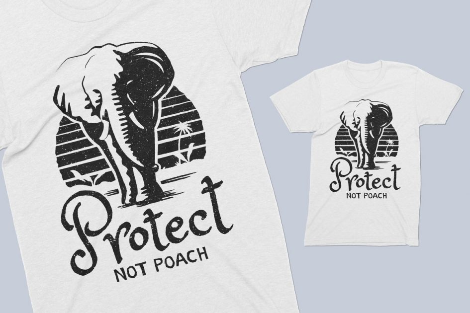 anti hunting protect elephant white shirt detail