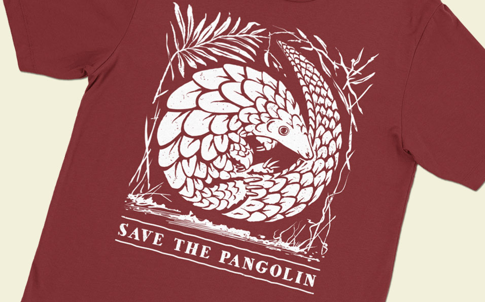 pangolin conservation red shirt feature