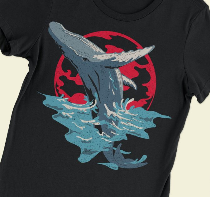 humpback whale art black shirt featured image
