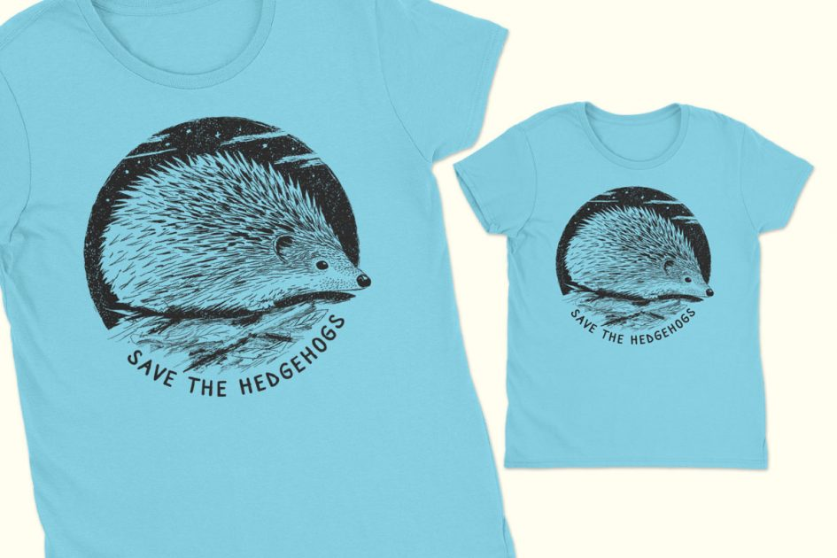 hedgehog art save hedgehogs blue shirt detail