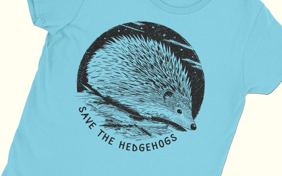 hedgehog art save hedgehogs blue shirt feature