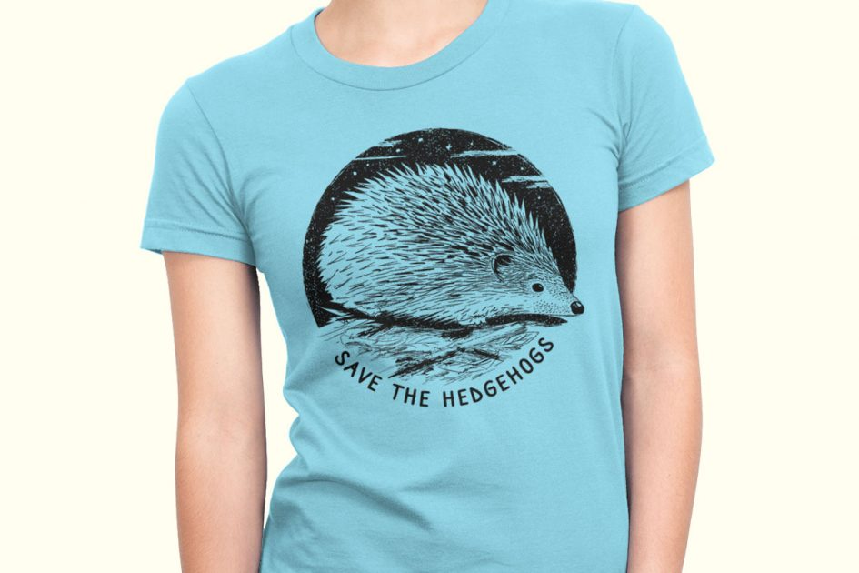 hedgehog art save hedgehogs blue shirt model