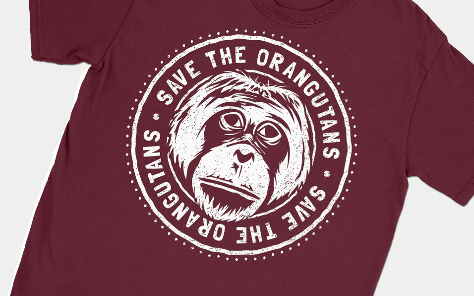 orangutan conservation maroon shirt feature