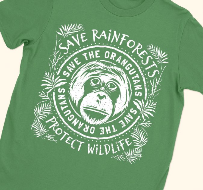 save rainforests orangutans green shirt feature